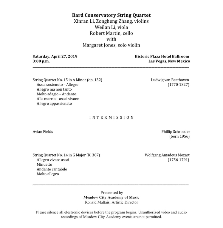 Bard Conservatory String Quartet pg 1