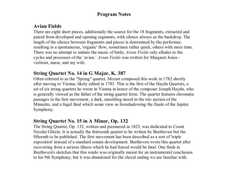 Bard Conservatory String Quartet pg 3