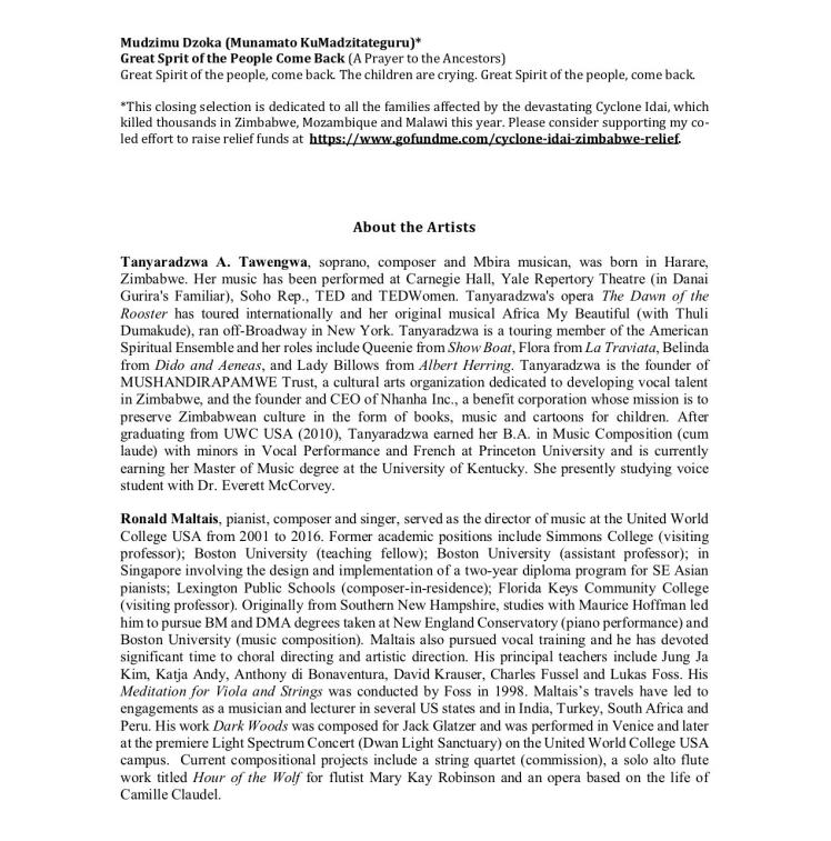 Tanyaradzwa Tawengwa Recital pg 4