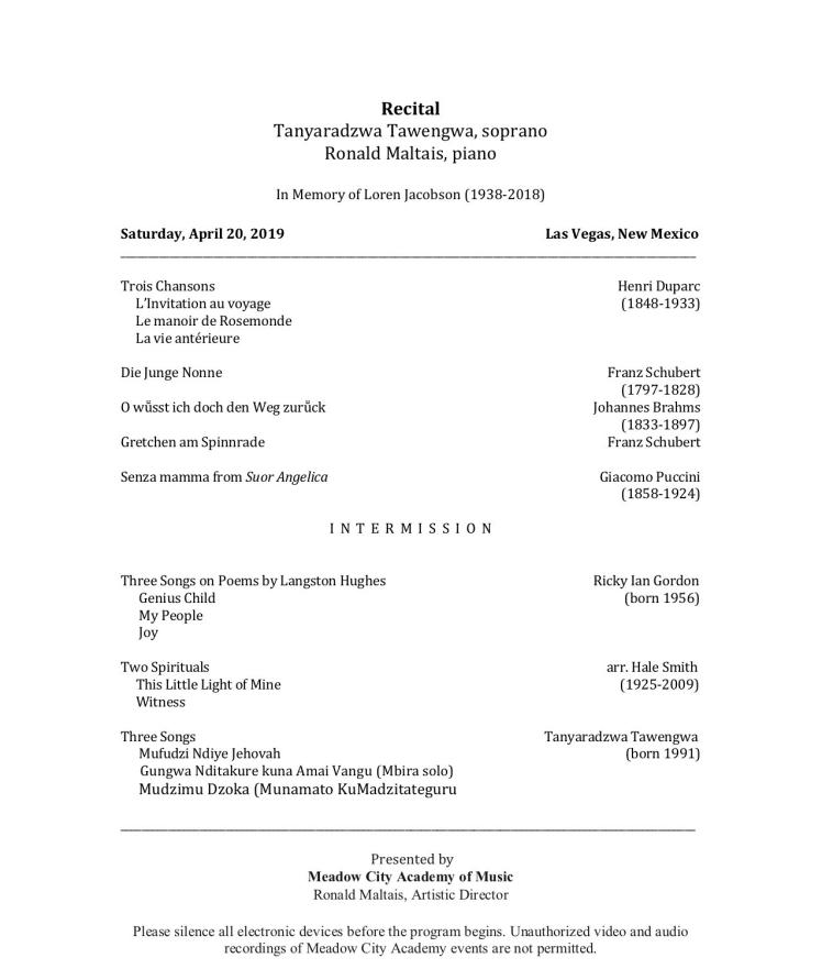 Tanyaradzwa Tawengwa Recital pg1